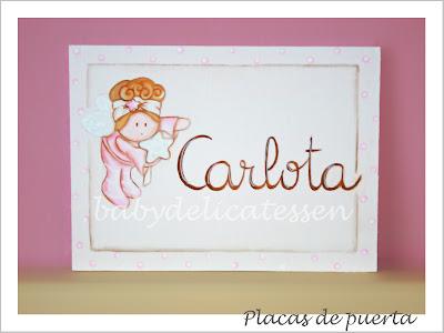 placa de puerta infantil hada ricitos tablilla nombre Carlota babydelicatessen