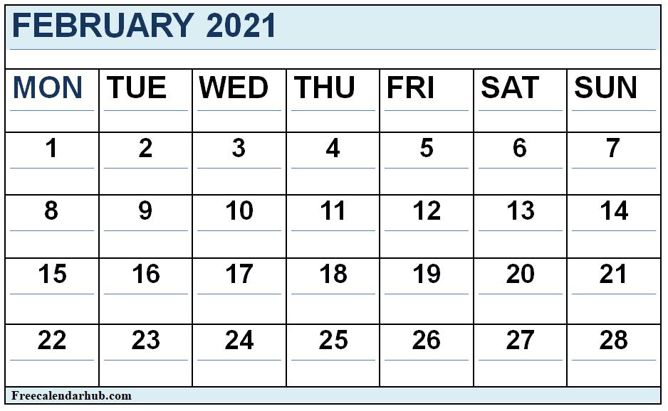 Free Printable February 2021 Cute Calendar
