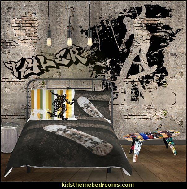 skateboarder grunge bedroom   Urban bedroom ideas - urban bedroom decor - urban bedrooms - Urban bedding - city theme bedrooms - New York City bedding - city decor - industrial furniture - city streets bedding - New York cabs - city living urban chic decorating ideas - Urban skater theme - Urban style decorating skateboarding theme - graffiti themed skater park - punk grunge bedrooms - graffiti bedroom decorating