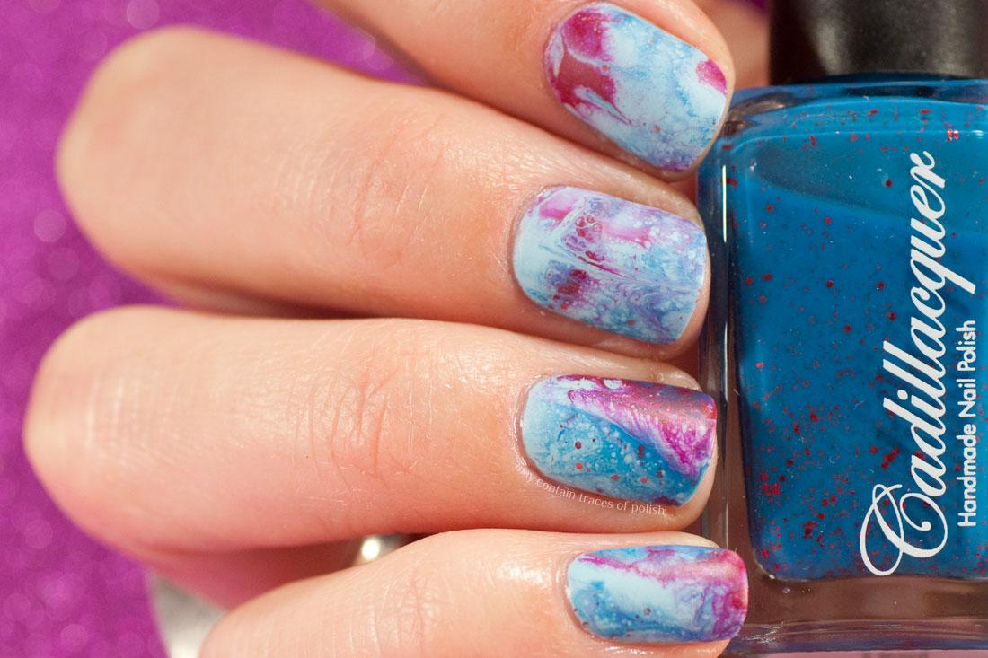 DIY Fluid Nail Art Polish - Dance Legend Spot it - Sinful Color Transforming Top Coat - bubbly nail art