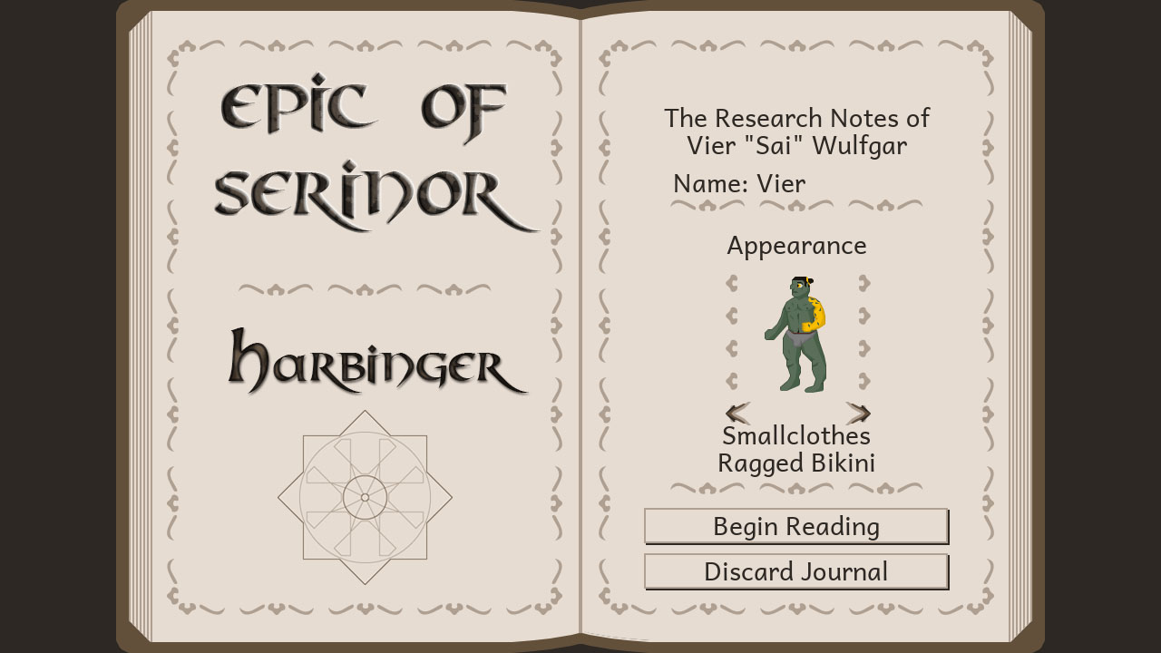 A screenshot of Harbinger's character creation menu.