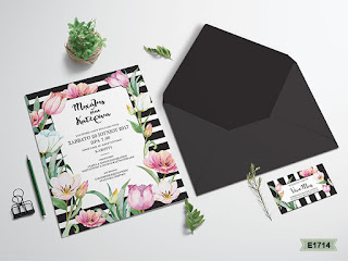 striped black wedding invitations with flowers