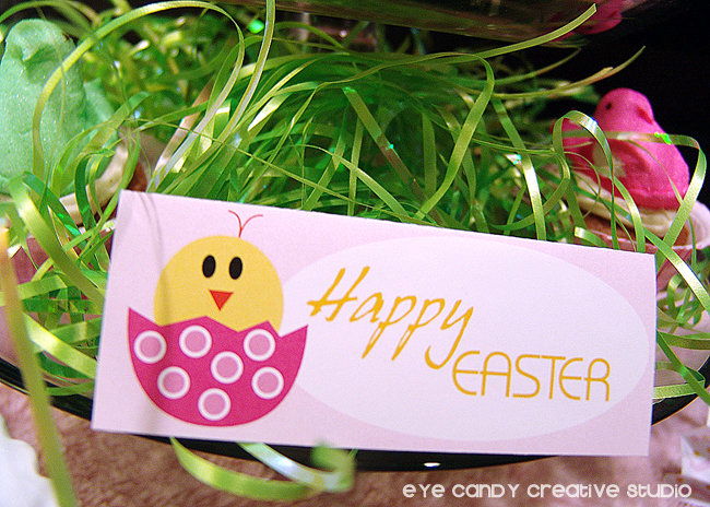 happy easter table tent, little chick, easter printables