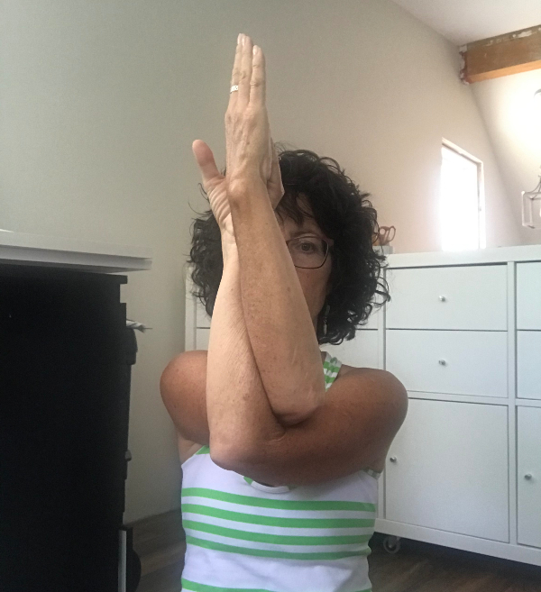 Yoga poses for quilters - Eagle arms | DevotedQuilter.com