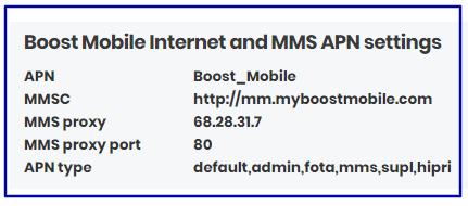 Boost Mobile Data Settings