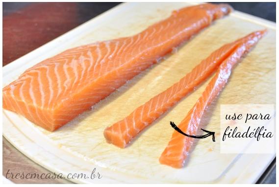 passo a passo do sashimi de salmão