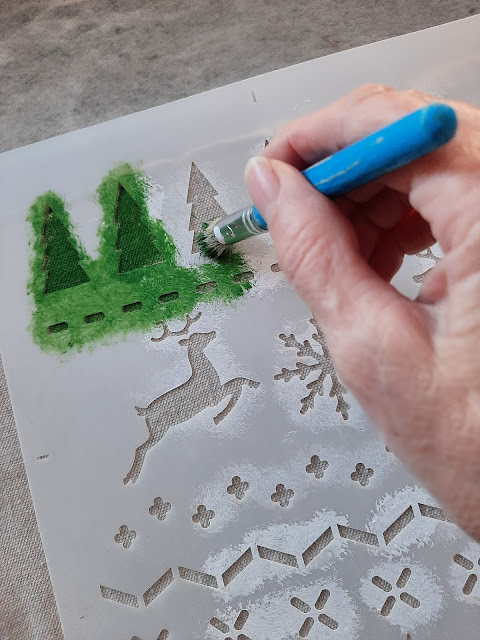 Create Custom Christmas Fabric with Old Sign Stencils