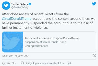 Twitter suspend définitivement le compte de Donald Trump et il veut lancer sa propre plateforme.
