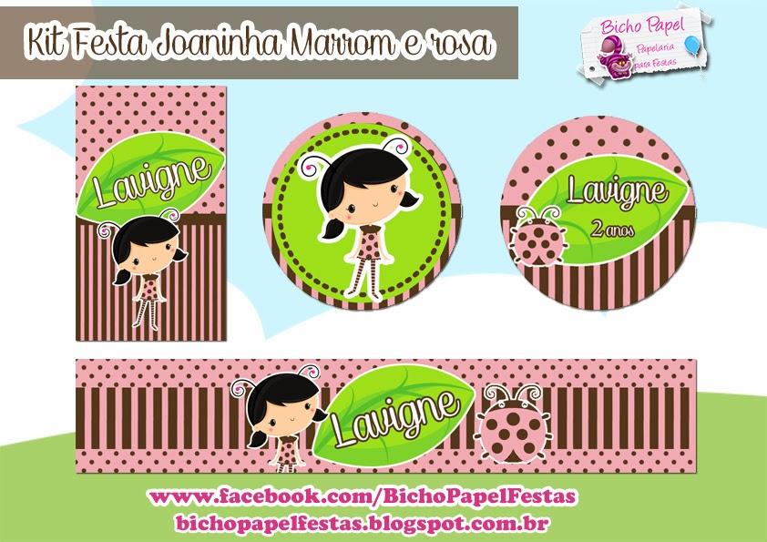 kit festa joaninha marrom e rosa