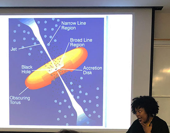 Professor Isler explains the current understanding and structure of blazars (Source: Palmia Observatory)