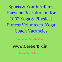 Sports & Youth Affairs, Haryana Recruitment for 1007 Yoga & Physical Fitness Volunteers, Yoga Coach Vacancies