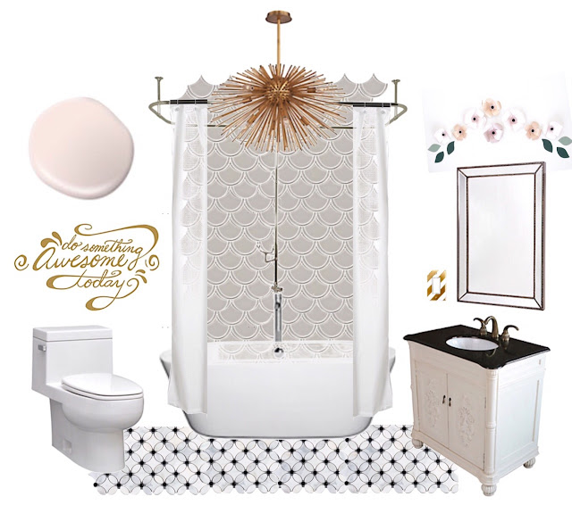 Teen Girl Bathroom Mood Board - Scallop Mosaic Tile - The Home Depot Canada - Harlow and Thistle