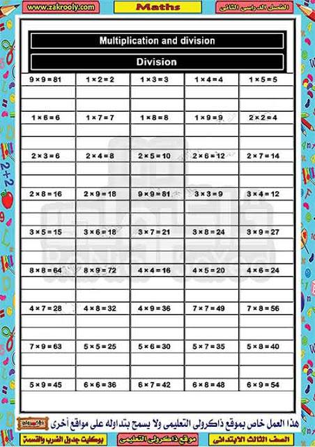 مذكرة تدريبات على جدول الضرب والقسمة من منهج الماث للصف الثالث الابتدائى