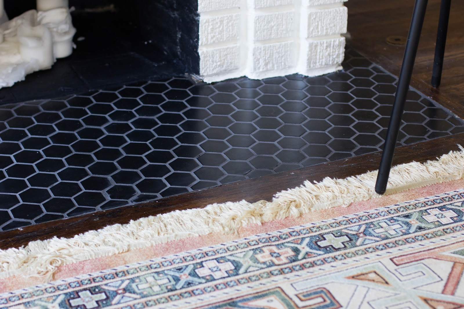 Always Rooney A Diy Fireplace Makeover With Hexagon Tile