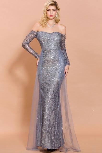 mermaid long sleeve prom dress