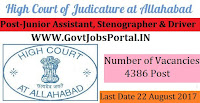 Allahabad High Court Recruitment 2017– 4386 Junior Assistant, Stenographer, Driver