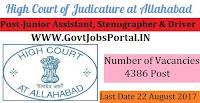 Allahabad High Court Recruitment 2017– 4386 Junior Assistant, Stenographer, Driver