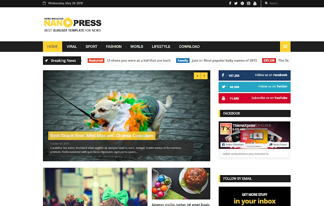Nanopress Responsive Magazine News Tutorial Blogger Template Theme