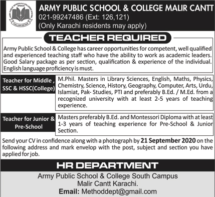 Army Public School & College Jobs 2020 in Malir Cantt