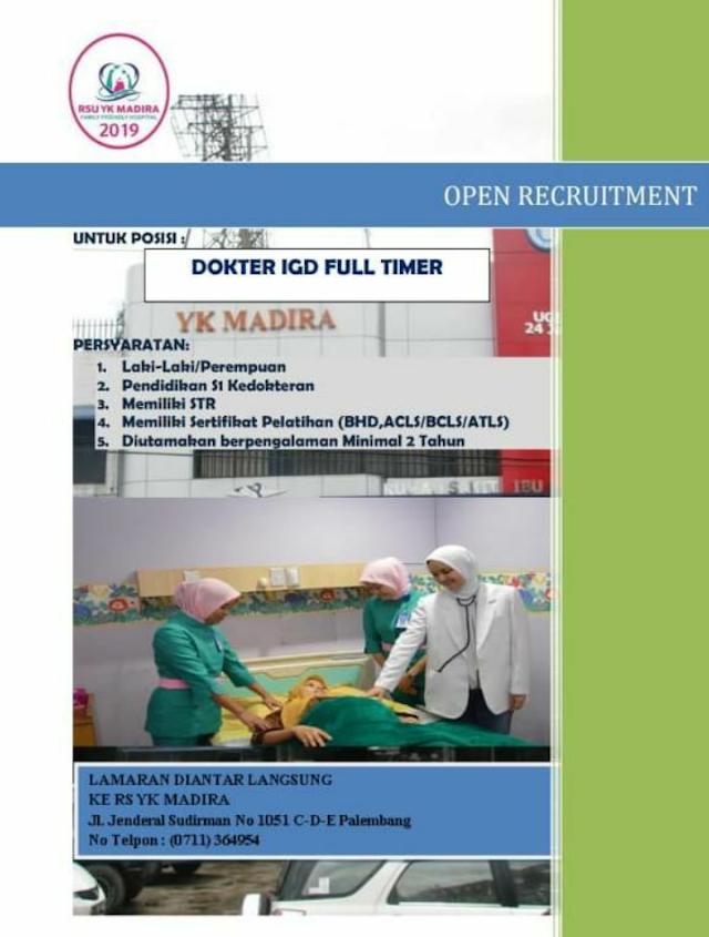 """Loker Dokter RSU YK MADIRA Palembang """"Dokter IGD Full Timur"""""""