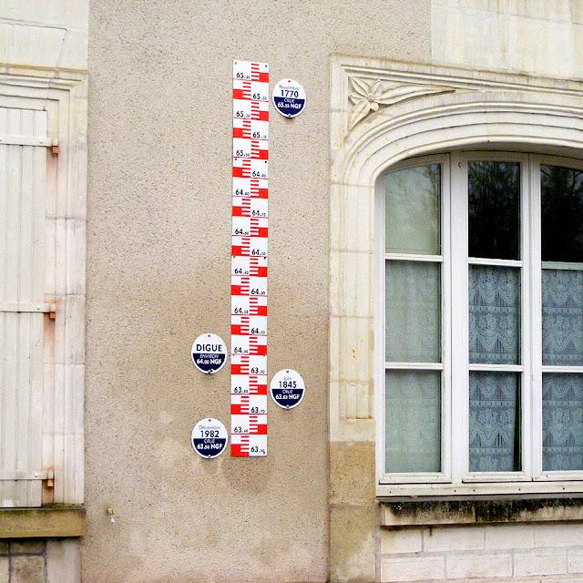 Flood marker, Reignac, Indre et Loire, France. Photo by Loire Valley Time Travel.