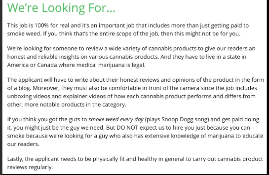 Marijuana reviews site wants to pay you $36,000 a year to smoke weed every day