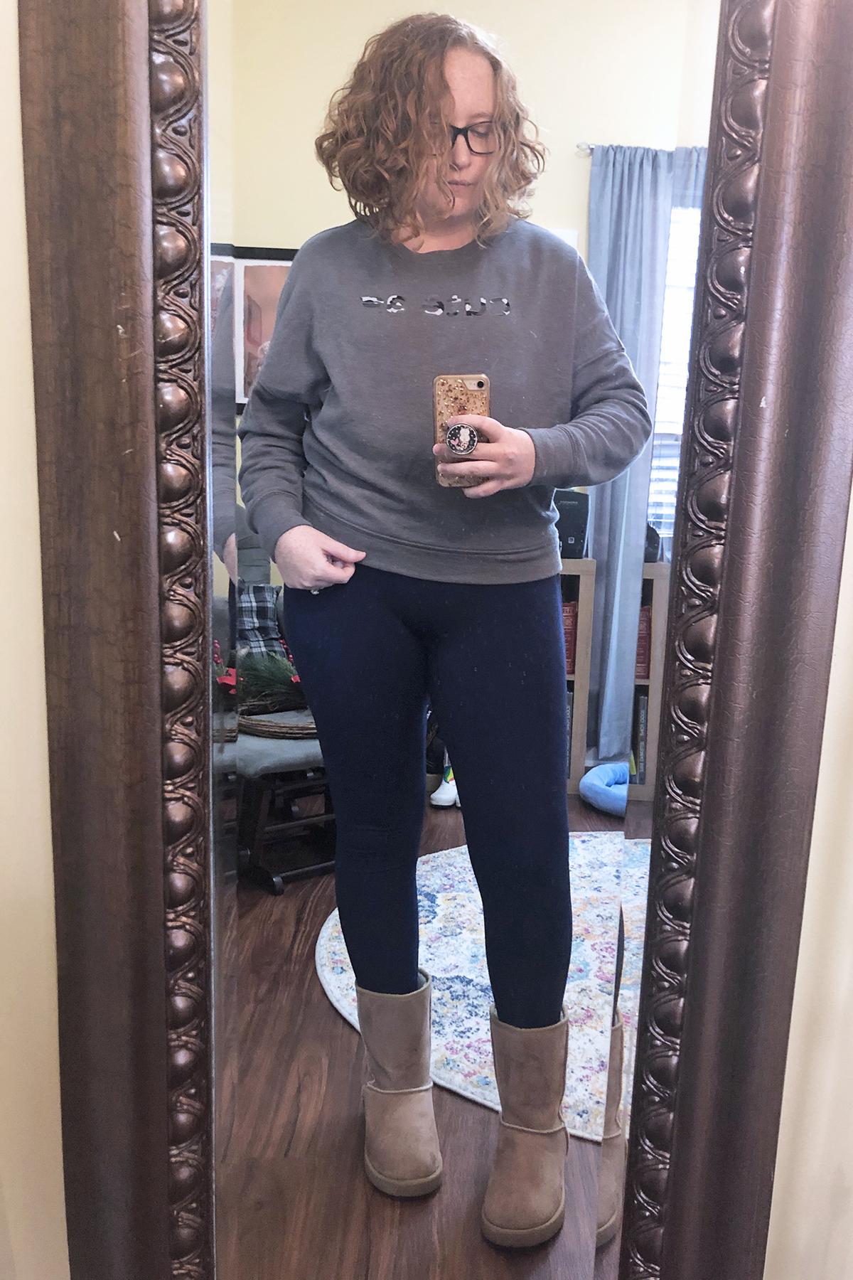 cute af sweatshirt blue leggings