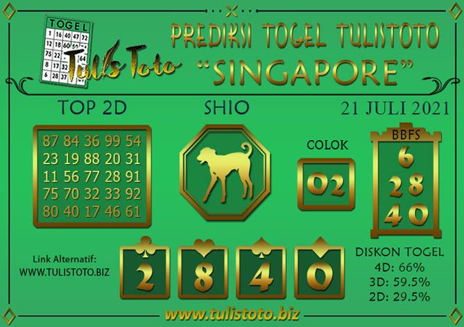 Prediksi Togel SINGAPORE TULISTOTO 21 JULI 2021