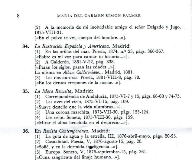Fragmento de la lista de escritos de Rosario de Acuña recogidos por María del Carmen Simón Palmer en su obra  Escritoras españolas del siglo XIX : manual bio-bibliográfico