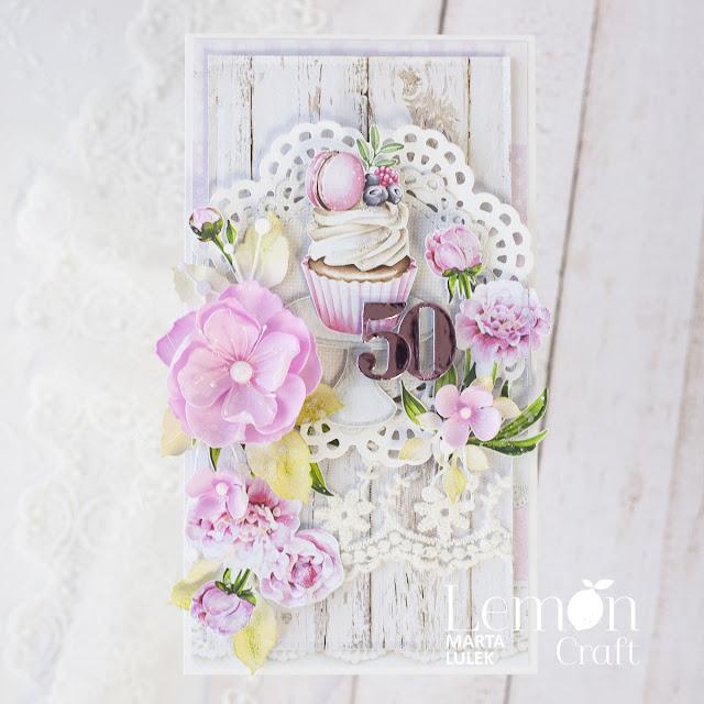 Kartka na 50 urodziny z kwiatami i babeczką
