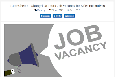 Tutor Chetan - Shangri La Tours Job Vacancy for Sales Executives