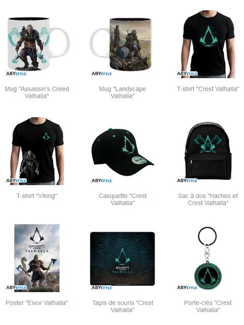 La sélection de produits dérivés Assassin's Creed Valhalla