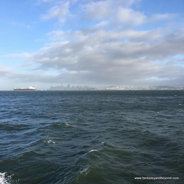 San Francisco skyline seen from the Tiburon Ferry in Tiburon, California