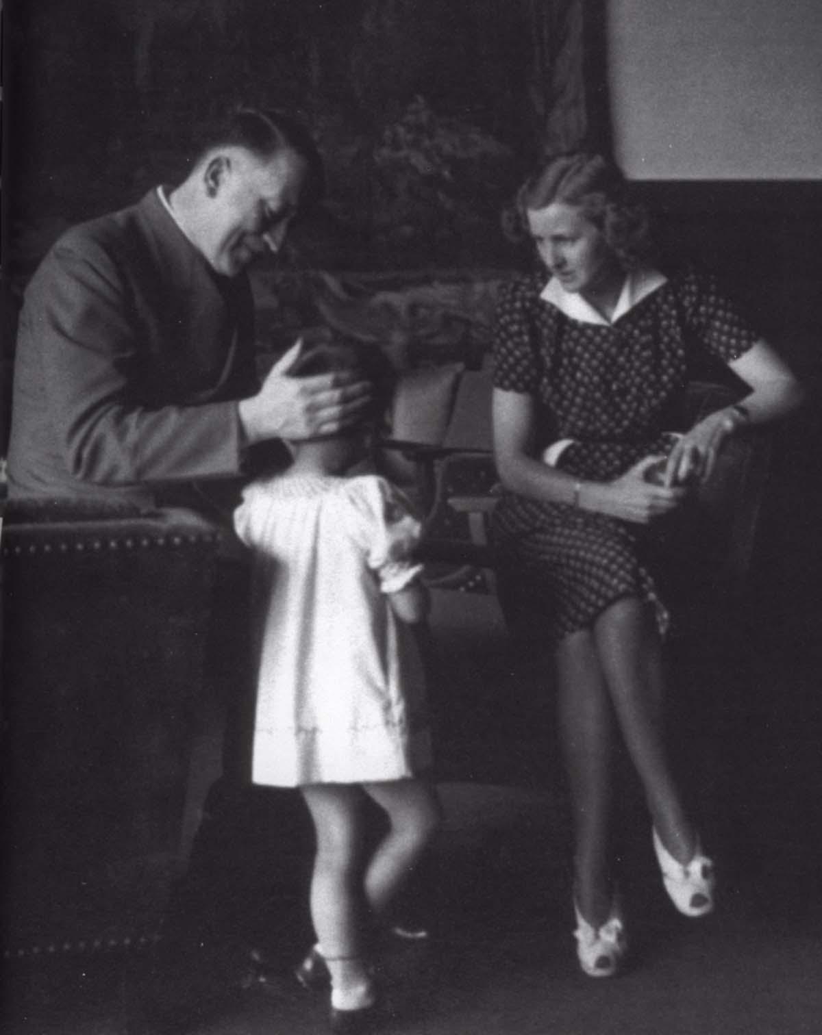 """Adolf Hitler and Eva with Ursula """"Uschi"""" Schneider."""