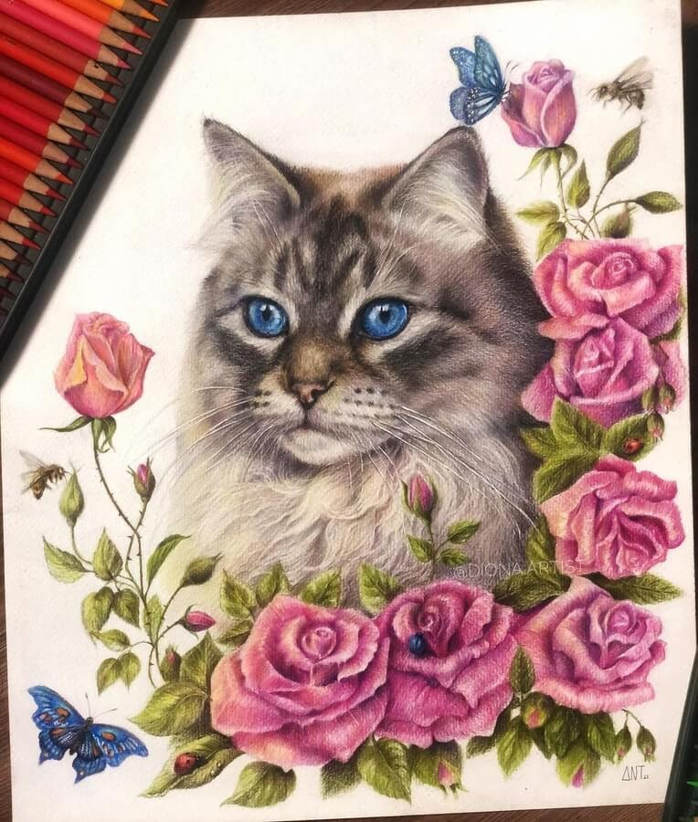 10-The-cat-butterflies-and-roses-Diona-Ant-www-designstack-co