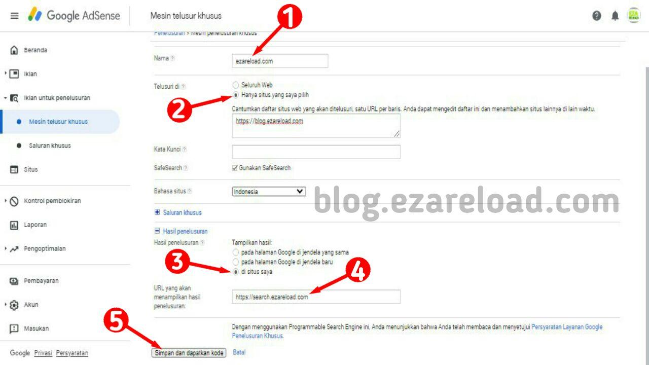 Membuat Custom Search Engine di Adsense