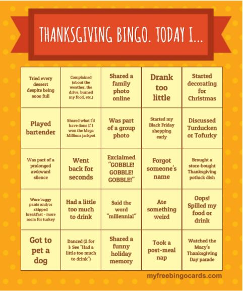 Free Thanksgiving Printables - Bingo Card Conversation Starters