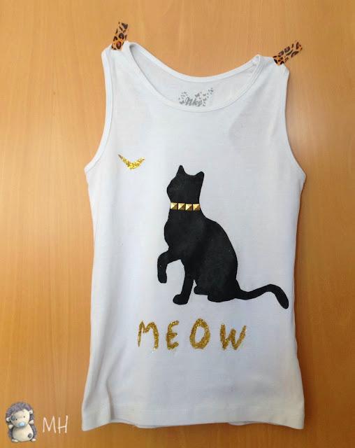 Camiseta gato con purpurina