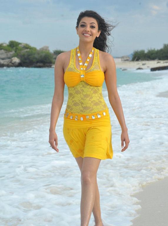 Bollywood Hot Actress Kajal Agarwal Long Hair Wet Photos in Yellow Dress