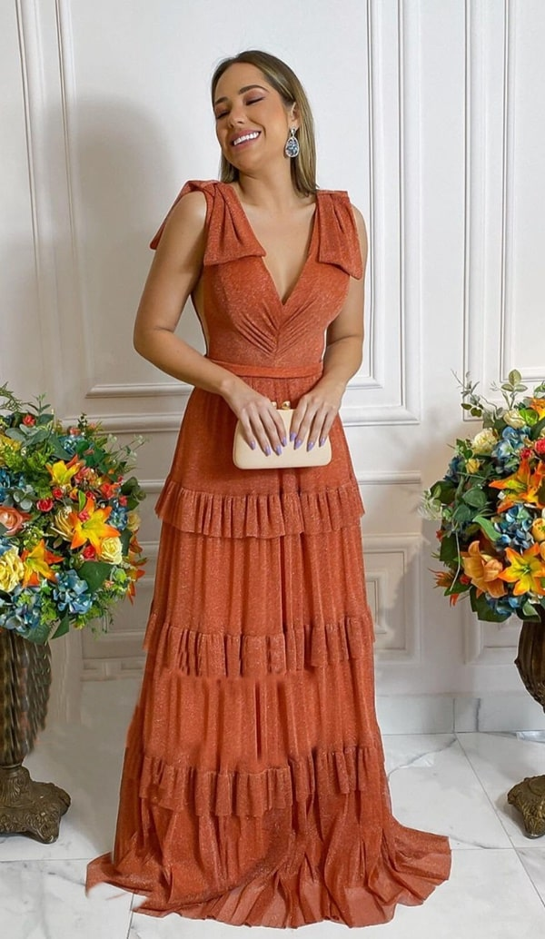 vestido longo terracota de lurex