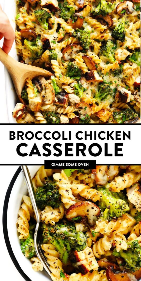 This healthier Broccoli Chicken Casserole recipe is made with your choice of pasta, tender chicken and broccoli, and the most delicious creamy cheddar mushroom sauce.