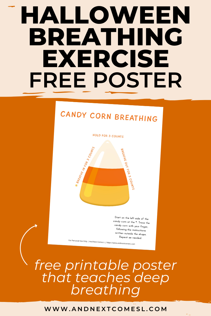 Free printable poster for a Halloween themed deep breathing technique