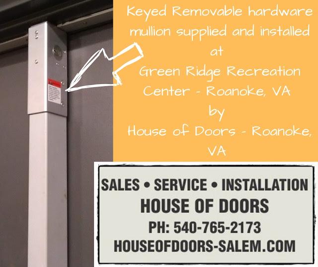 Keyed Removable hardware mullion supplied and installed at  Green Ridge Recreation Center - Roanoke, VA  by  House of Doors - Roanoke, VA