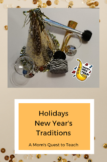 party hat, noise maker, plastic glass with text Holidays: New Year's Traditions