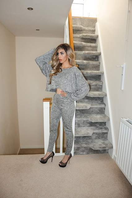 The Femme Luxe Grey Marl Off The Shoulder Loungewear Set in model Imana.