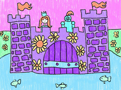 Elementary child's drawing of a castle