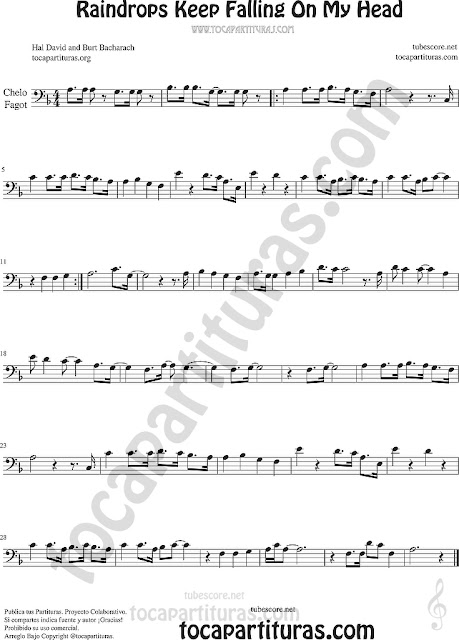 Violonchelo y Fagot Partitura de Raindrops Keep Falling on my Head Sheet Music for Cello and Bassoon Music Scores