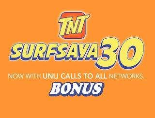 TNT Surfsaya 30 Bonus - Unli Allnet Calls, Texts, FB and Data for 3 days