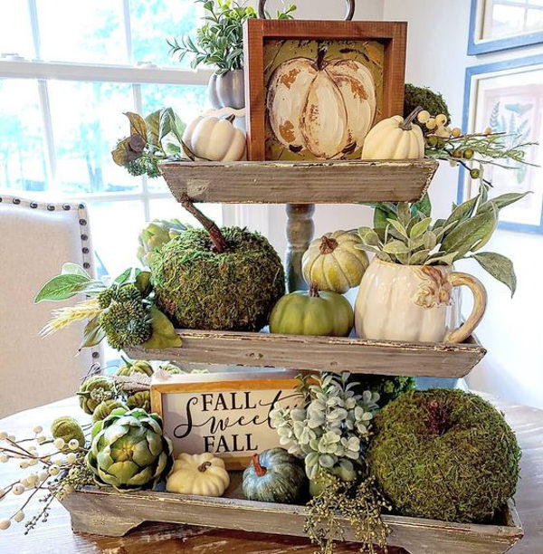 3 tiered wooden tray with fall decor