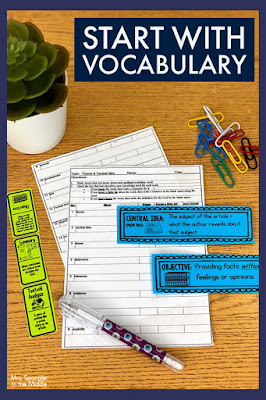 """Reviewing critical vocabulary is a good starting point for learning how to USE central idea to analyze text in middle school!   Get the rest of the """"recipe"""" by reading this post!  #teaching #lessonplans"""